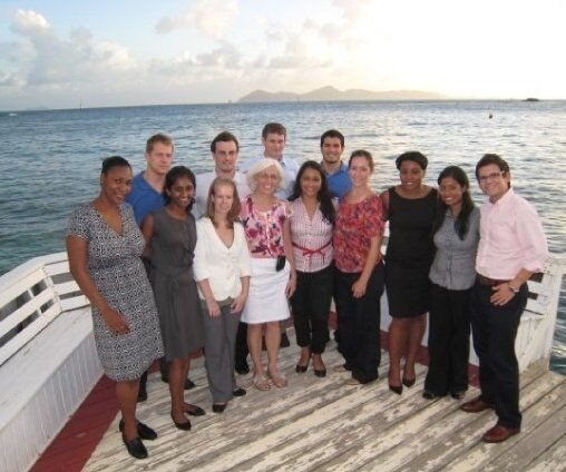 Trinity classmates and Dr. Hindman enjoying the ocean view