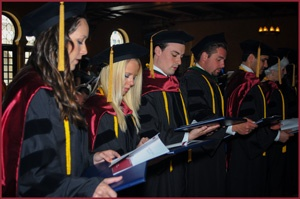 Dr. Brett and her Trinity classmates at their commencement ceremony in 2013