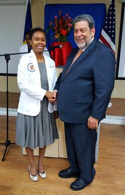 Future physician Rosalyn Spann with Prime Minister Gonsalves