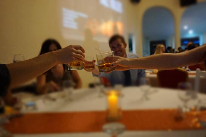 Trinity students toast the evening