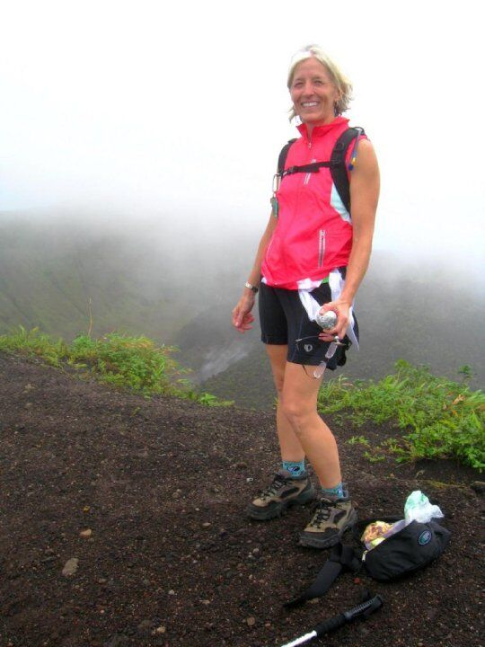 Dr. Hindman hiking La Soufriere near Trinity's campus