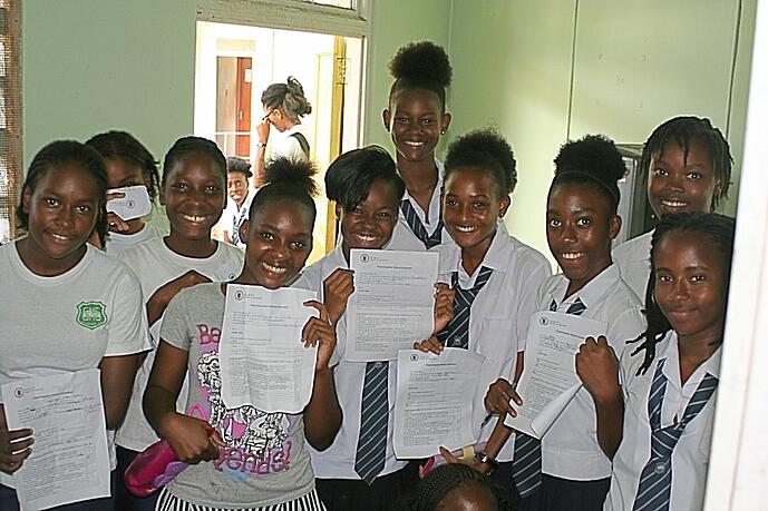 Vincentian students ready for their checkup from Trinity faculty and students