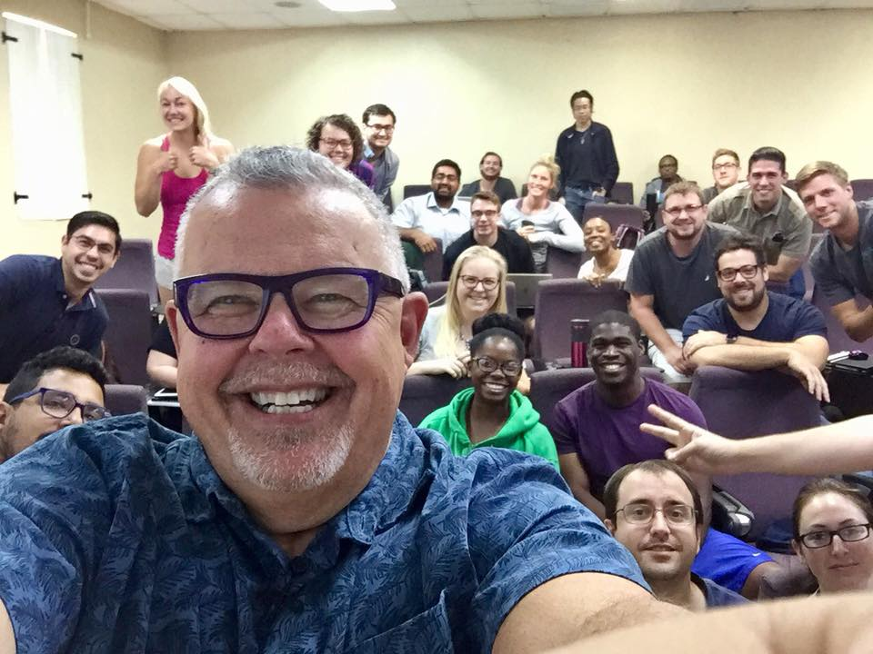 Professor Cooper with his class at Trinity