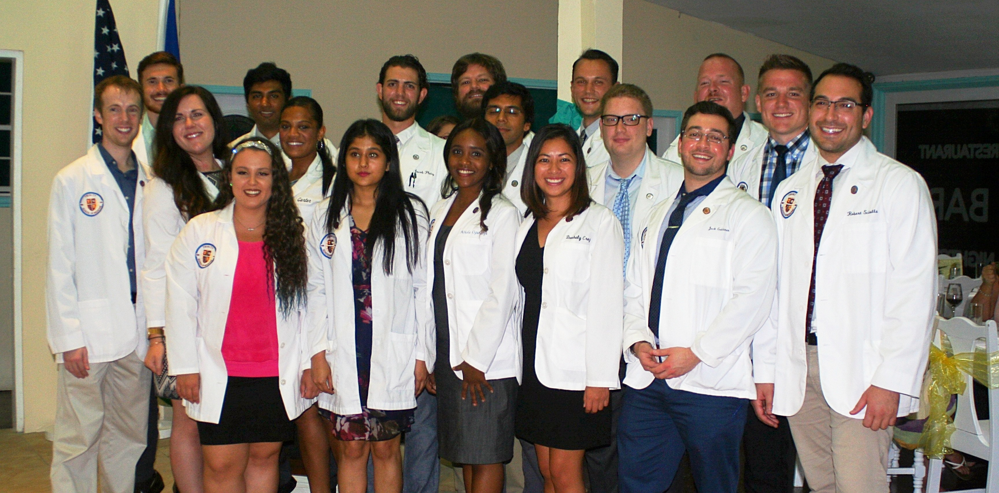 Trinity students celebrating the transition to clerkships