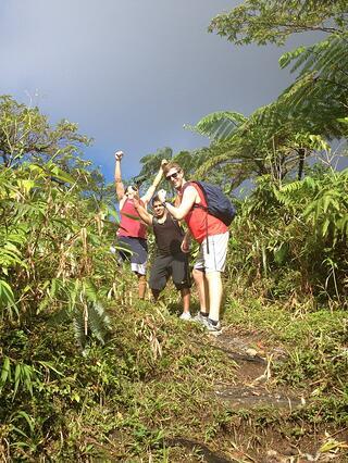 Drew hiking the volcano on St. Vincent