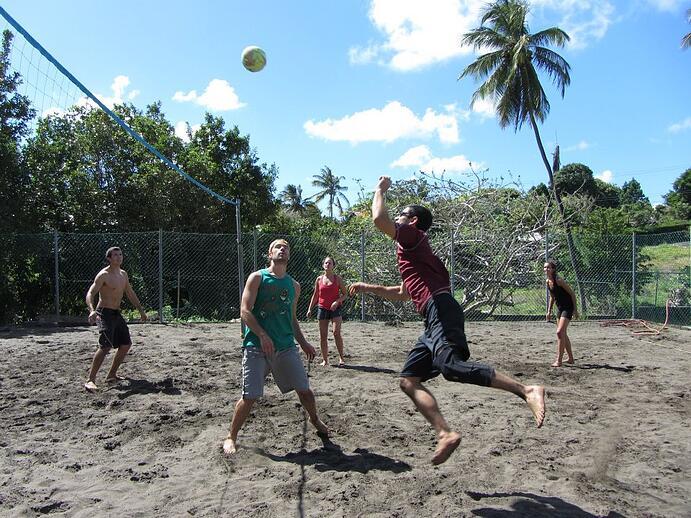 Drew playing volleyball near Trinity's campus