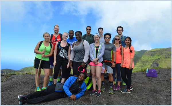 group of students at the top of a volcano