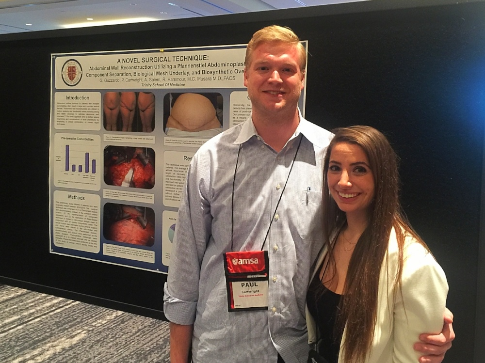 """Poster Presentation: """"A Novel Surgical Technique: Abdominal Wall Reconstruction Utilizing a Pfannenstiel Abdominoplasty, Component Separation, Biological Mesh Underlay, and Biosynthetic Overlay"""" at the 22nd Annual AMSA Poster Session and Project Exhibition"""