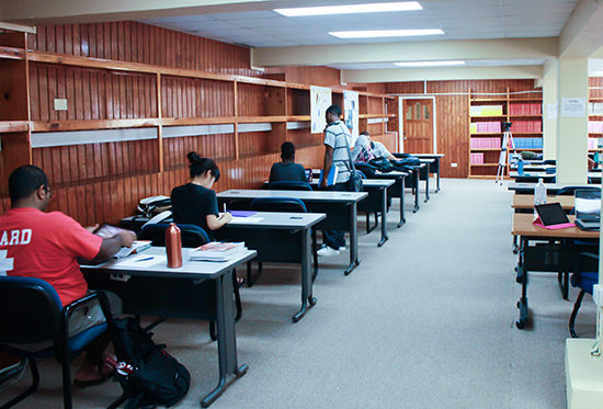 Study area within the library
