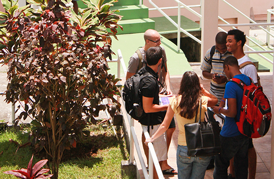 Students gather outside the lecture halls