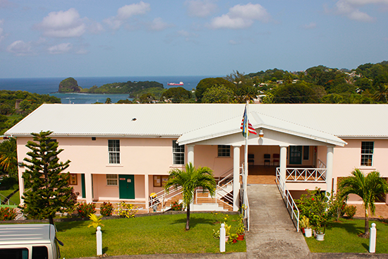 Main Administration Building and view to the Caribbean